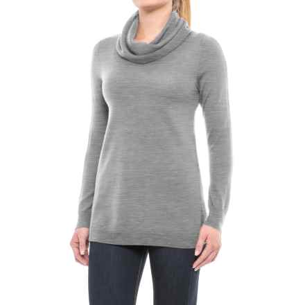 Ellen Tracy Cashfeel Cowl Neck Tunic Sweater - Merino Wool, Split Back (For Women) in Medium Grey Heather - Closeouts