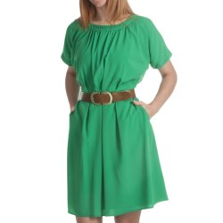 Ellen Tracy Crepe Square Neck Dress - Short Sleeve (For Women) in Green