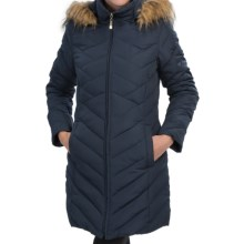 Ellen Tracy Down Walker Coat - Faux-Fur-Trim Hood (For Women) in Navy - Closeouts