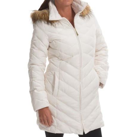 Ellen Tracy Down Walker Coat Faux Fur Trim Hood (For Women)