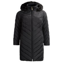 Ellen Tracy Hooded Down Walker Coat - Faux-Fur Trim (For Plus Size Women) in Black - Closeouts