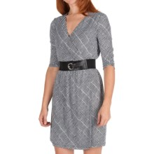 Ellen Tracy Houndstooth Jersey Dress - 3/4 Sleeve (For Women) in Black/White - Closeouts