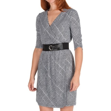 Ellen Tracy Houndstooth Jersey Dress - 3/4 Sleeve (For Women) in Black/White