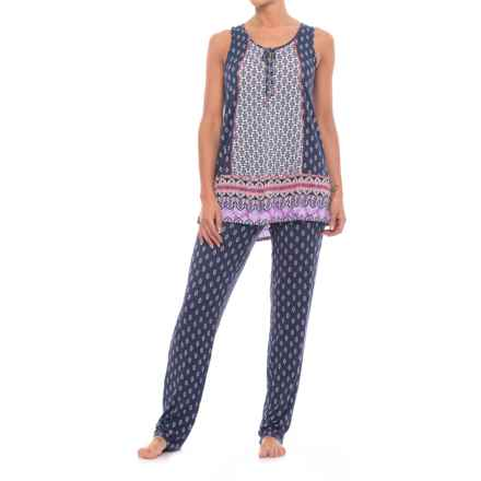 Ellen Tracy Long Pajamas - Sleeveless (For Women) in White/Blue - Closeouts