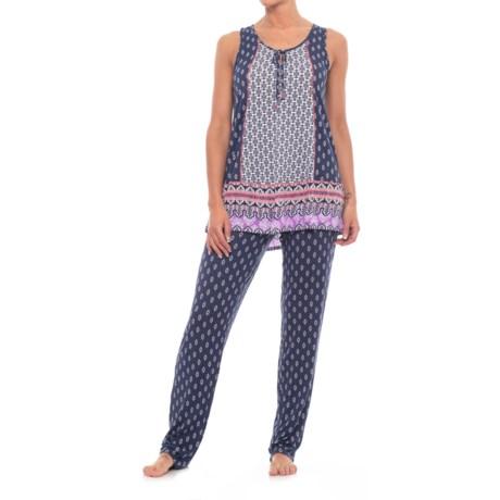 Ellen Tracy Long Pajamas - Sleeveless (For Women) in White/Blue