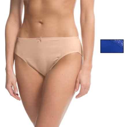 Ellen Tracy Microfiber High-Cut Brief Panties - 2-Pack (For Women) in Sapphire/Sunbeige - Closeouts