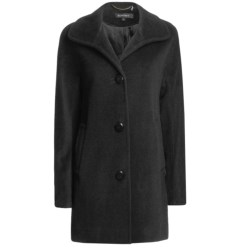 Ellen Tracy Outerwear A-Line Kimono Sleeve Coat - Wool Blend (For Women) in Black