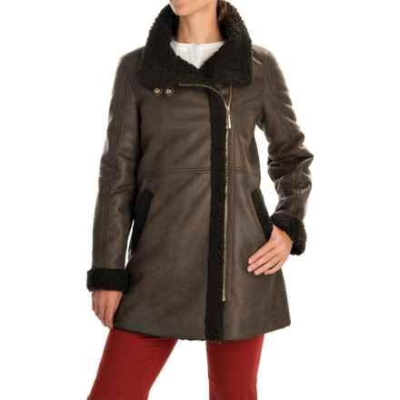 Ellen Tracy Outerwear Asymmetrical Faux-Shearling Coat (For Women) in Mushroom - Closeouts