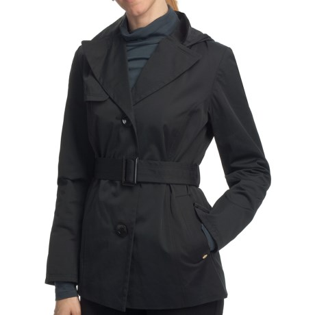 Ellen Tracy Outerwear Belted Mini Trench Coat (For Women) in Black