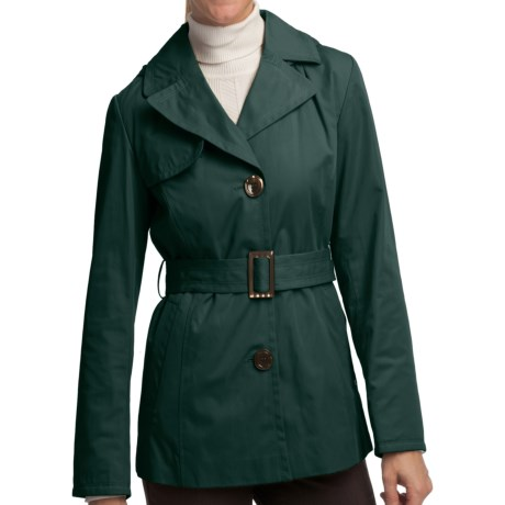 Ellen Tracy Outerwear Belted Mini Trench Coat (For Women) in Juniper