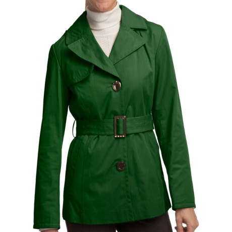 Ellen Tracy Outerwear Belted Mini Trench Coat (For Women) in Kelly Green