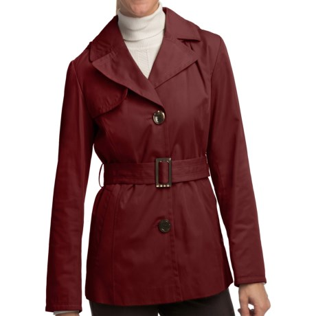 Ellen Tracy Outerwear Belted Mini Trench Coat (For Women) in Ruby