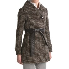 Ellen Tracy Outerwear Belted Wrap Coat - Textured Wool, Wing Collar (For Women) in Brown Multi - Closeouts
