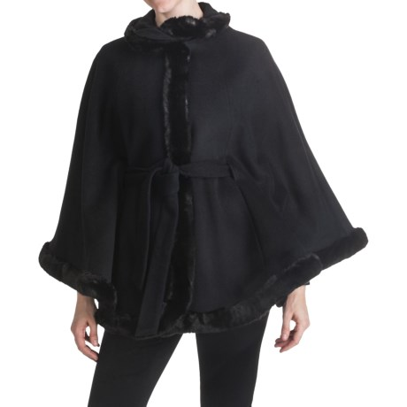 Ellen Tracy Outerwear Cape - Wool Blend, Faux-Fur Trim (For Women) in Black