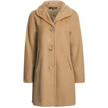 Ellen Tracy Outerwear Classic Kimono Sleeve Coat - Pleated Collar, Wool Blend (For Women) in Light Camel - Closeouts