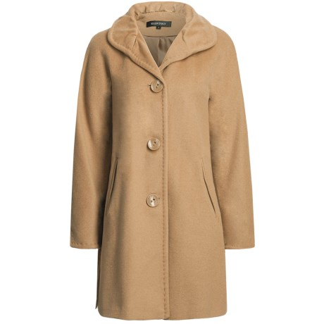 Ellen Tracy Outerwear Classic Kimono Sleeve Coat - Pleated Collar, Wool Blend (For Women) in Light Camel