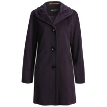 Ellen Tracy Outerwear Classic Kimono Sleeve Coat - Pleated Collar, Wool Blend (For Women) in Plum - Closeouts