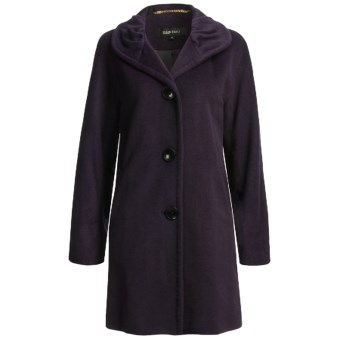 Ellen Tracy Outerwear Classic Kimono Sleeve Coat - Pleated Collar, Wool Blend (For Women) in Plum
