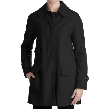 Ellen Tracy Outerwear Fly Front Stadium Coat - Wool Blend (For Plus Size Women) in Black