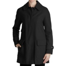 Ellen Tracy Outerwear Fly Front Stadium Coat - Wool Blend (For Women) in Black - Closeouts