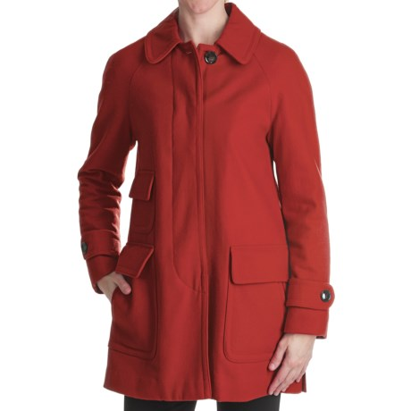 Ellen Tracy Outerwear Fly Front Stadium Coat - Wool Blend (For Women) in Flame