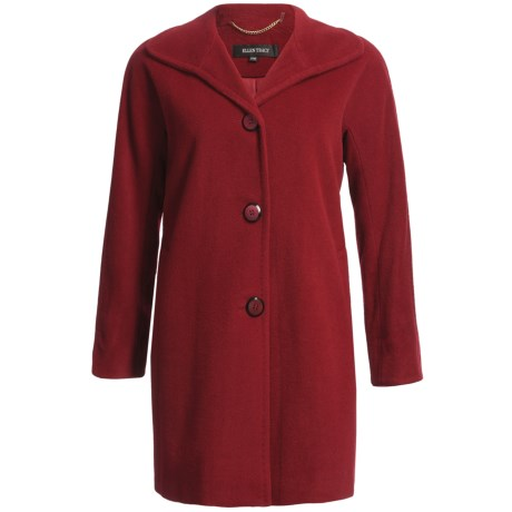 Ellen Tracy Outerwear Kimono Sleeve Coat - Wool-Angora (For Plus Size Women) in Ruby Red