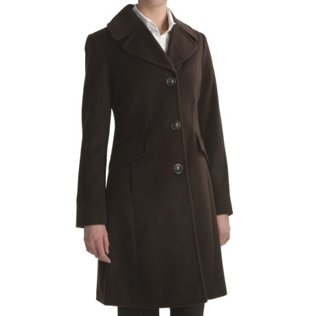 Ellen Tracy Outerwear Straight Wool Coat (For Women) in Mahogany