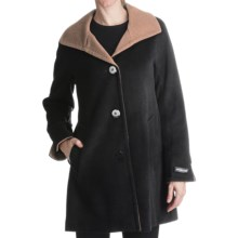 Ellen Tracy Outerwear Swing Coat - Wool Blend (For Women) in Black/Carmel - Closeouts