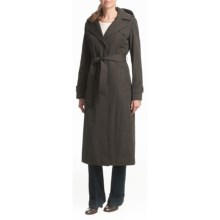 Ellen Tracy Outerwear Trench Coat - Quilted Liner, Full Length in Charcoal - Closeouts