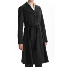 Ellen Tracy Outerwear Wool-Angora Coat - Fit & Flare (For Women) in Black - Closeouts