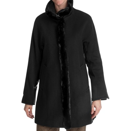 Ellen Tracy Outerwear Wool Blend Car Coat - Faux-Fur Trim (For Women) in Black
