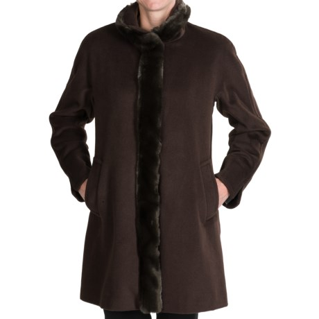 Ellen Tracy Outerwear Wool Blend Car Coat - Faux-Fur Trim (For Women) in Brown