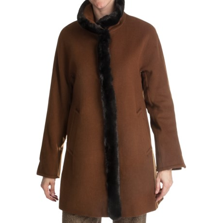 Ellen Tracy Outerwear Wool Blend Car Coat - Faux-Fur Trim (For Women) in Hazelnut