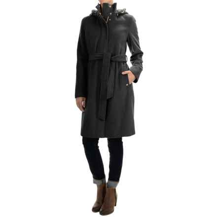 Ellen Tracy Outerwear Wool-Blend Hooded Stadium Coat (For Women) in Black - Closeouts