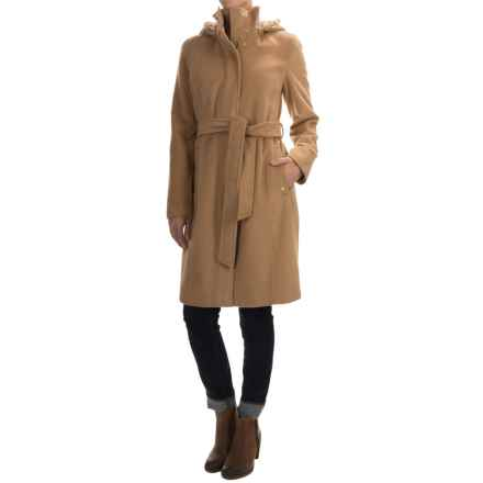 Ellen Tracy Outerwear Wool-Blend Hooded Stadium Coat (For Women) in Camel - Closeouts