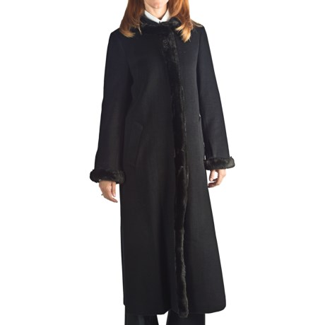Ellen Tracy Outerwear Wool Maxi Coat - Tuxedo Faux-Fur Trim (For Women) in Black