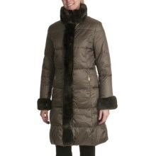Ellen Tracy Outwear Quilted Down Coat - Faux-Fur Trim (For Women) in Brown - Closeouts