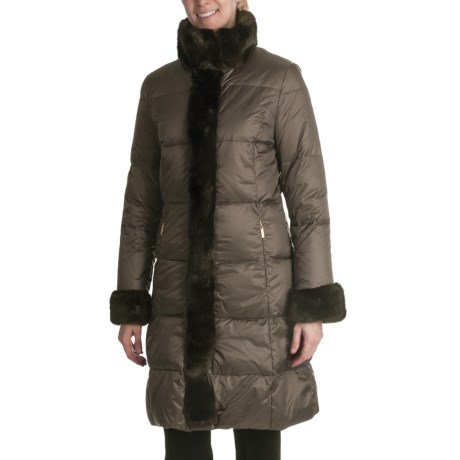 Ellen Tracy Outwear Quilted Down Coat - Faux-Fur Trim (For Women) in Brown