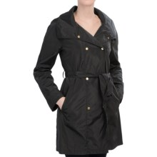 Ellen Tracy Packable Double-Breasted Rain Jacket - Snap Front (For Women) in Black - Closeouts