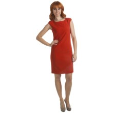 Ellen Tracy Pick-Stitch Detail Dress - Short Sleeve (For Women) in Flame - Closeouts