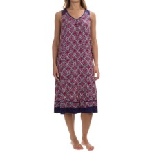 Ellen Tracy Printed Ballet Nightgown - Sleeveless (For Women) in Navy Grid Tile - Overstock
