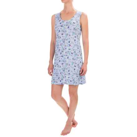 Ellen Tracy Printed Nightshirt - Sleeveless (For Women) in Blue/Multi - Closeouts