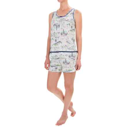 Ellen Tracy Printed Shorty Pajamas - Sleeveless (For Women) in White/Green Print - Closeouts