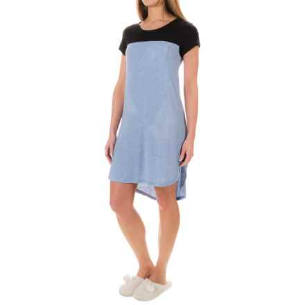 Ellen Tracy Rayon Jersey Nightshirt - Short Sleeve (For Women) in Blue Heather - Closeouts