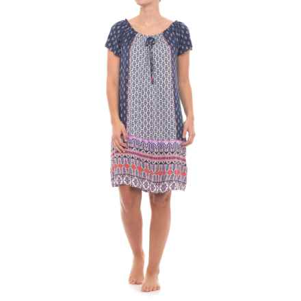 Ellen Tracy Rayon Nightgown - Short Sleeve (For Women) in White/Blue - Closeouts