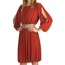 Ellen Tracy Ruched Jersey Dress - Long Sleeve (For Women) in Rust - Closeouts