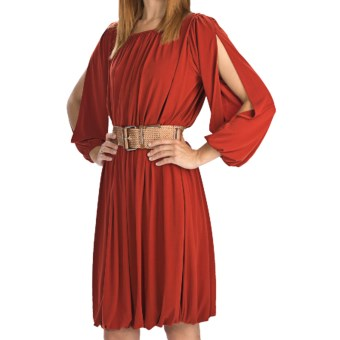 Ellen Tracy Ruched Jersey Dress - Long Sleeve (For Women) in Rust