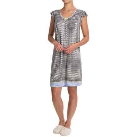 Ellen Tracy Ruffled Nightgown - Short Sleeve (For Women) in Black Novel - Closeouts