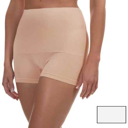Ellen Tracy Seamless Control Shape Panties - Boy Shorts, 2-Pack (For Women) in White/Sunbeige - Overstock