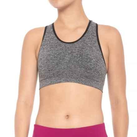 Ellen Tracy Seamless Cross-Back Sports Bra - Crisscross Back, Padded Cups (For Women) in Black - Closeouts